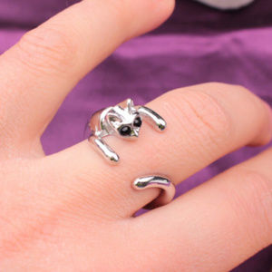 Silver Plated Cat Ring Crystal Eyes